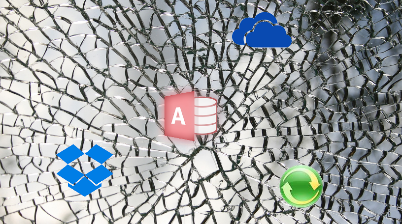 Icons on broken glass